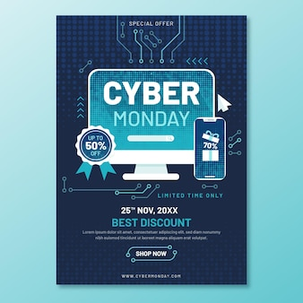 Platte ontwerp cyber maandag folder sjabloon met circuits