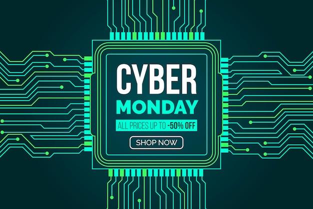 Platte ontwerp cyber maandag met moederbordcircuits