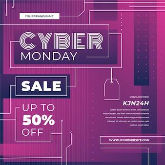 Platte ontwerp cyber maandag verkoop promo