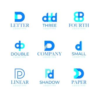 Platte ontwerp d logo collectie