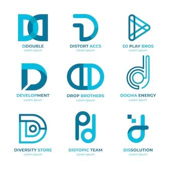 Platte ontwerp d logo's collectie