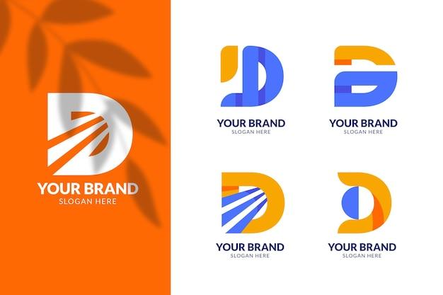 Platte ontwerp d logo sjabloonverzameling