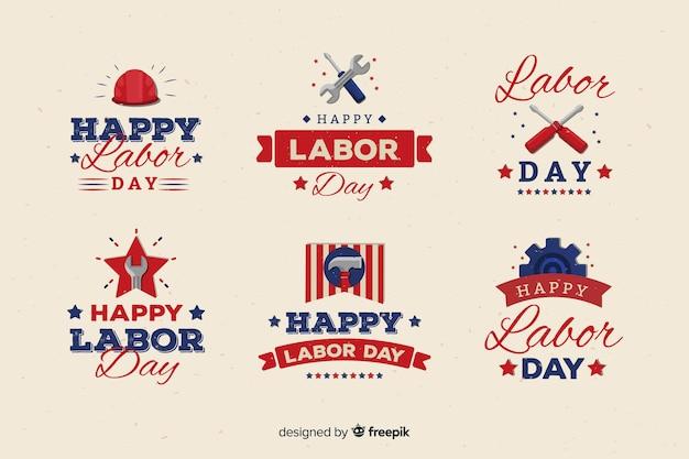 Platte ontwerp dag van de arbeid badge-collectie