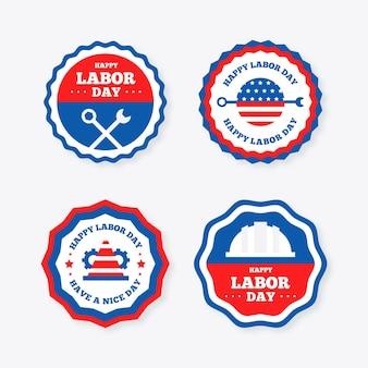 Platte ontwerp dag van de arbeid badge collectie
