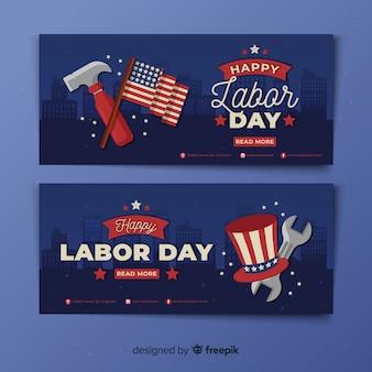 Platte ontwerp dag van de arbeid banners sjabloon