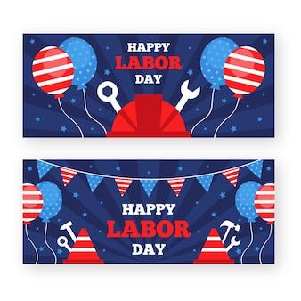 Platte ontwerp dag van de arbeid horizontale banners