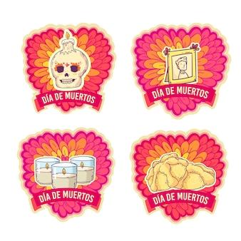 Platte ontwerp dag van de dode badge set