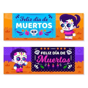 Platte ontwerp dag van de dode banners