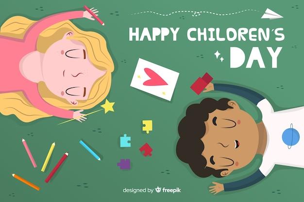 Platte ontwerp dag van de kinderen achtergrond met kinderen