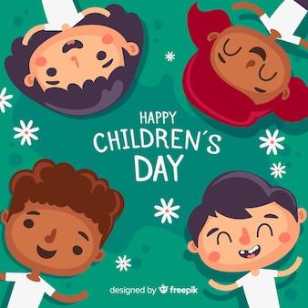 Platte ontwerp dag van de kinderen achtergrond