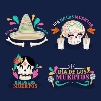Platte ontwerp dag van het dode labelpakket