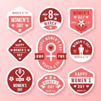 Platte ontwerp dames dag badge collectie thema