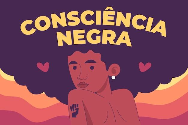 Platte ontwerp dia da consciencia negra