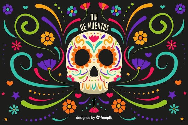 Platte ontwerp día de muertos achtergrond