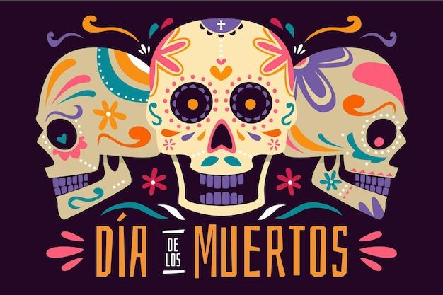 Platte ontwerp dia de muertos achtergrond