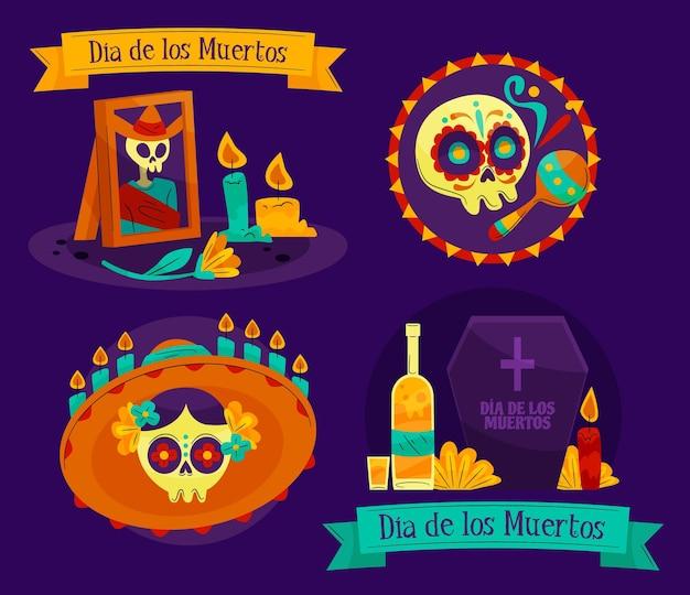 Platte ontwerp dia de muertos badge-collectie