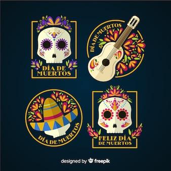 Platte ontwerp día de muertos badge