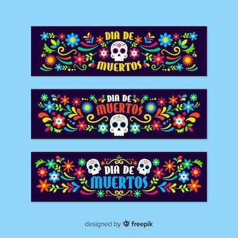 Platte ontwerp día de muertos banners sjabloon