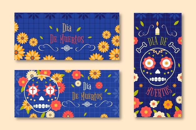 Platte ontwerp dia de muertos banners sjabloon
