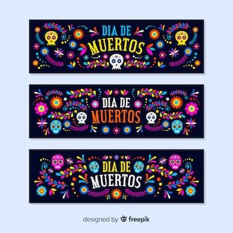 Platte ontwerp día de muertos banners