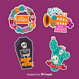 Platte ontwerp dia de muertos label en badge sjabloon
