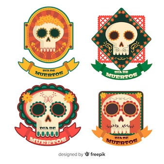 Platte ontwerp dia de muertos labelcollectie