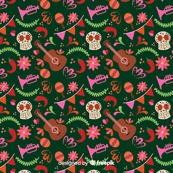 Platte ontwerp dia de muertos naadloos patroon
