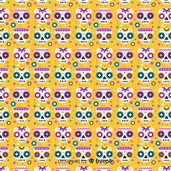 Platte ontwerp día de muertos patroon