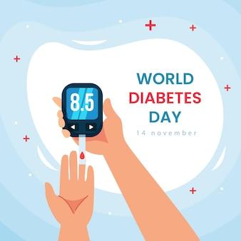 Platte ontwerp diabetes dag evenement