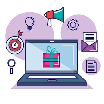Platte ontwerp digitale marketingconcept. hand met megafoon uit laptop pictogrammen