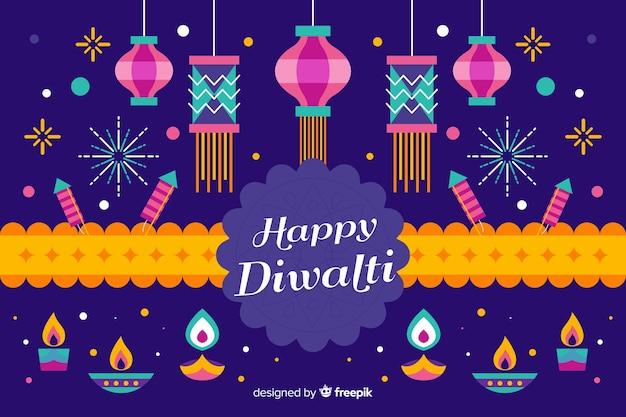 Platte ontwerp diwali feestelijke achtergrond met lint