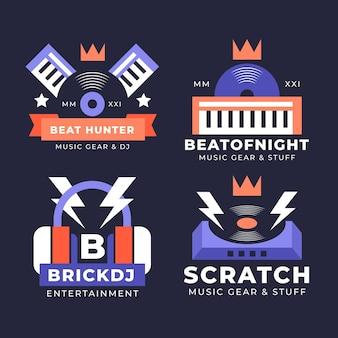 Platte ontwerp dj logo collectie
