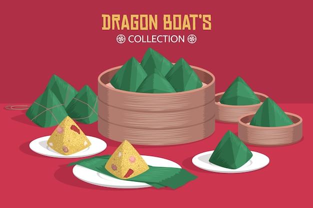 Platte ontwerp dragon boat zongzi-collectie