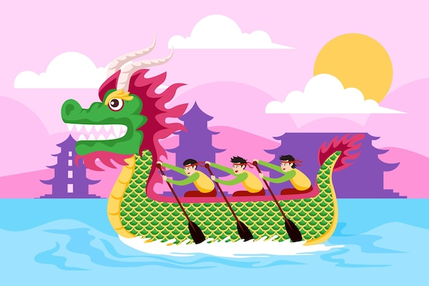 Platte ontwerp drakenboot achtergrond