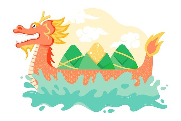 Platte ontwerp drakenboot zongzi achtergrond