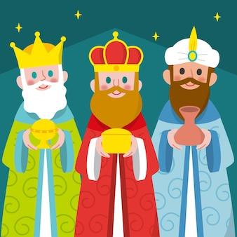 Platte ontwerp drie wijze mannen