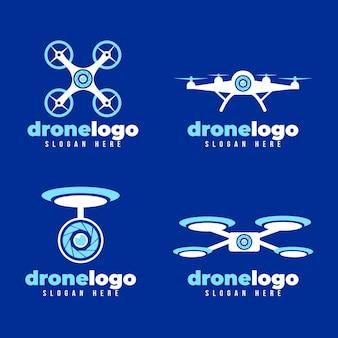Platte ontwerp drone logo-collectie