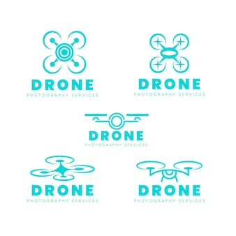 Platte ontwerp drone logo set
