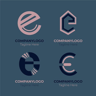 Platte ontwerp e logo-collectie