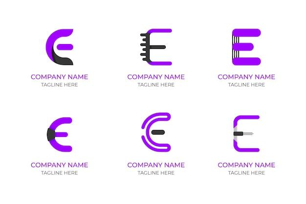 Platte ontwerp e-logo set