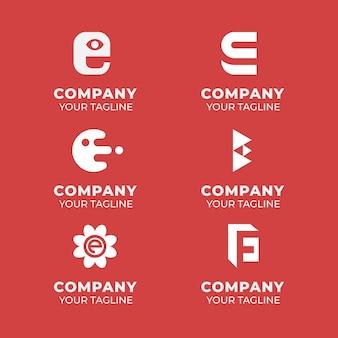Platte ontwerp e-logo sjablonen set