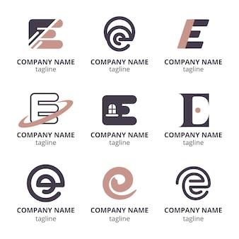 Platte ontwerp e logo sjabloon set