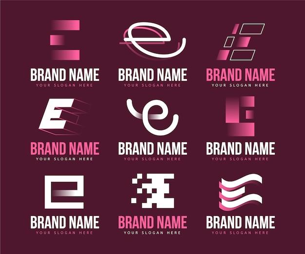 Platte ontwerp e logo sjablooncollectie