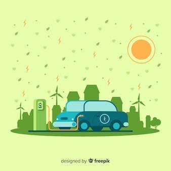 Platte ontwerp ecologie concept met natuurlijke elementen