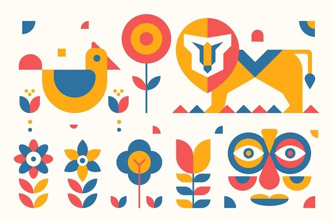 Platte ontwerp eenvoudige geometrische elementen illustraties pack