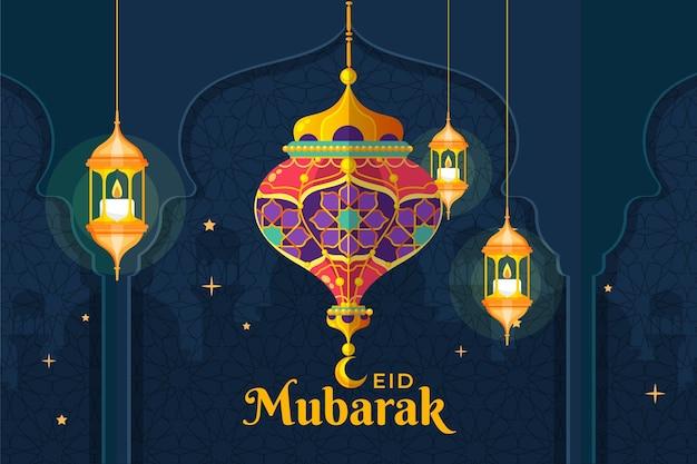 Platte ontwerp eid mubarak achtergrond met lantaarns