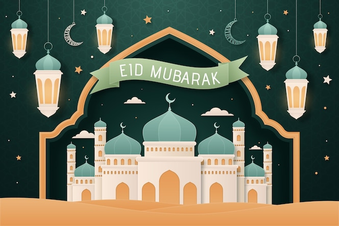 Platte ontwerp eid mubarak achtergrond met moskee