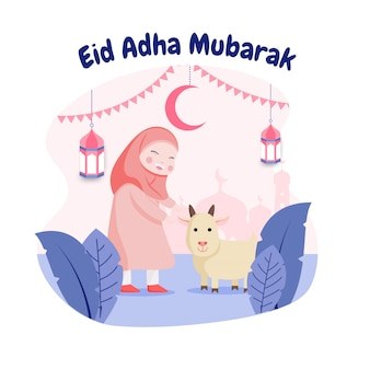 Platte ontwerp eid mubarak met gelukkig meisje en geit