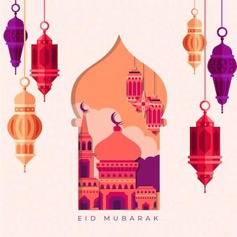 Platte ontwerp eid mubarak met lantaarns en moskee