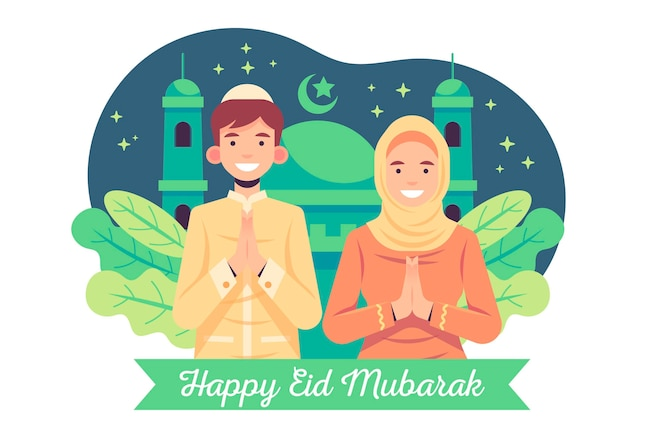 Platte ontwerp eid mubarak met man en vrouw bidden